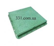 Люк пластмассовый квадратный 680х680х80  мм с замком зеленый (02978) (IMPA539)