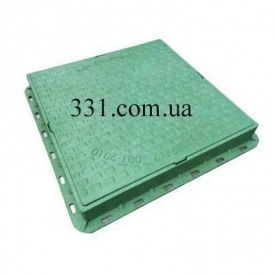 Люк пластмасовий квадратний 680х680х80 мм з замком зелений (02978) (IMPA539)