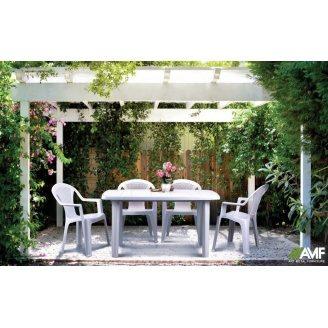 Пластиковая мебель АМФ Сорренто + Ишия белая для улицы
