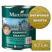 Молотковая краска антикоррозийная 3 в 1 Rust stop metal enamel MAXIMA античное золото 0,75 кг