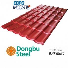 Металлочерепица Евромодуль Хестия matt Dongbu Steel Корея 0,47 мм
