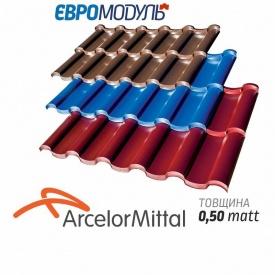 Металлочерепица Евромодуль Олимп модульная matt Arcelormittal Германия 0,50 мм