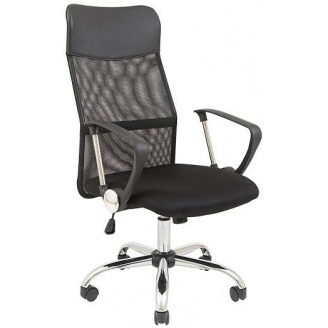 Комп'ютерне крісло-сітка Atlanta-Supreme чорне з підлокітниками на коліщатках хром