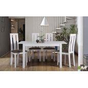 Комплект обідній меблів АМФ біла / стіл Норман + стілець Йорк дерев'яний набір 5 одиниць