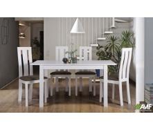 Комплект обеденной мебели АМФ белая / стол Норман + стул Йорк деревянный - набор 5 едениц