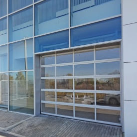 Панорамні ворота ALUTECH AluTrend 3000х3000 мм RAL 9006 сріблястий металік
