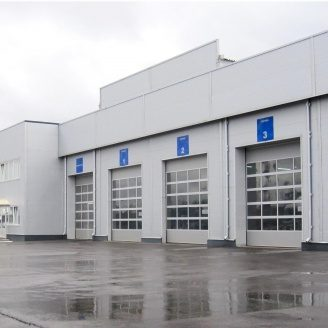 Панорамные ворота ALUTECH AluTrend 4000х4000 мм RAL 9006 серебристый металлик