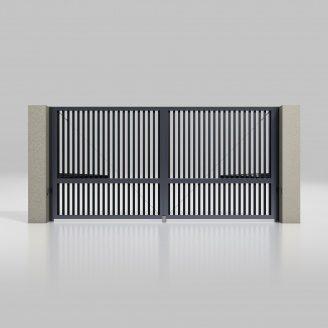 Распашные ворота ALUTECH Prestige 4000х2000 мм привод Ambo разреженный профиот антрацит (ADS703)