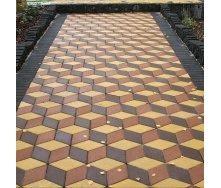 Тротуарная плитка Золотой Мандарин Ромб 150х150х60 мм на сером цементе коричневый