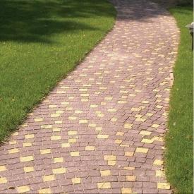 Тротуарная плитка Золотой Мандарин Креатив 60 мм на сером цементе коричневый