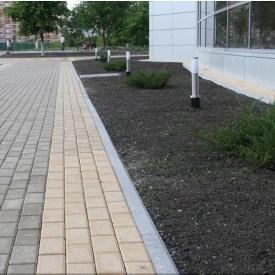 Тротуарна плитка Золотий Мандарин Цегла стандартний 200х100х40 мм на сірому цементі персиковий