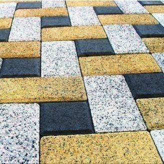 Тротуарна плитка Золотий Мандарин Меланж Цегла 200х100х60 мм танжерин
