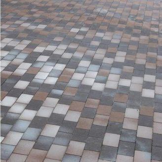 Тротуарная плитка Золотой Мандарин Кирпич без фаски 200х100х60 мм на сером цементе коричневый