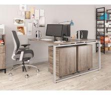 Двойной офисный стол Q-140 Loft-design 1350х750х1400 мм дсп дуб-палена