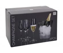 Набір келихів для шампанського KOOPMAN 4 шт з відром для льоду (VER000569)