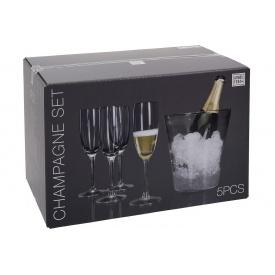 Набор бокалов для шампанского KOOPMAN 4 шт с ведром для льда (VER000569)
