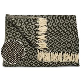 Одеяло ARTE REGAL 180х220 см бежевый с черным рисунок ромб (43372)
