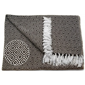 Одеяло ARTE REGAL 180х220 см белый с кофейным рисунок ромб (43367)