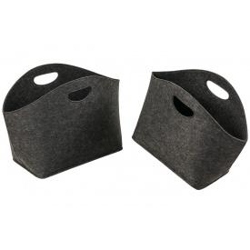 Корзинки универсальные ADAM SCHMIDT для хранения из фетра темно-серые овальные 2 шт (6808/1-2DG)