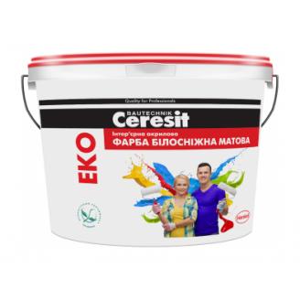 Краска акриловая Ceresit EKO матовый 14 кг белоснежный