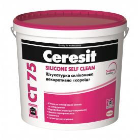 Штукатурка декоративная Ceresit CT 75 силиконовая короед 2 мм база 25 кг