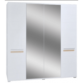 шкаф 4Д с зеркалом Бьянко белый глянец + дуб сонома Мир Мебели