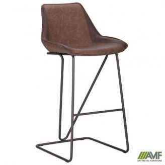 Стул барный AMF Custer 1000х500х570 мм gunmetal cowboy Coffe-Dark Brown