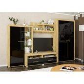 Гостинная Неон-2 Мебель-Сервис 349х218х60 дуб золотой/чёрный глянец