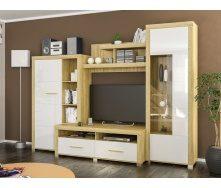 Гостинная Неон-1 Мебель-Сервис дуб 300х218х59 золотой/белый глянец