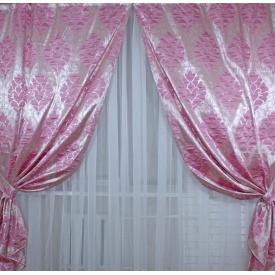 Шторы из жаккарда коллекция Корона VR-Textil 150 × 280 см розовый с принтом (2050)