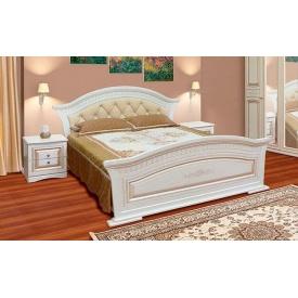 кровать 160 2сп с мягким быльцем Николь белое дерево патина Мир Мебели