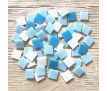 Скляна мозаїка Eco-Mosaic 20х20 мм 33х33 см біло-блакитна мікс (MDA331)