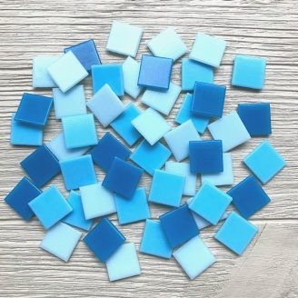 Скляна мозаїка Eco-Mosaic 20х20 мм 33х33 см синьо-блакитна мікс (MC153)