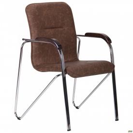 Офисное кресло-стул AMF Самба 890х610х560 мм хром орех WAХ Coffe без канта