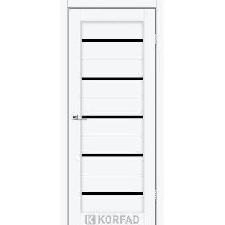 Дверное полотно Korfad PORTO PR-02 белый перламутр черное стекло 700х2000 мм Sincrolam