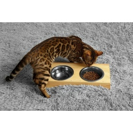 Кормушка для кота с двумя мисками Adirondak 0,2 л 360х170х60 мм