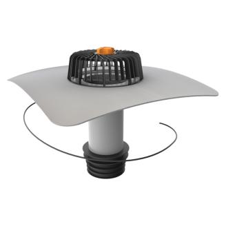 Ремонтная воронка TOPWET TWЕ SAN 110 PVC с приваренным фартуком и листоуловлювачем 90 мм с электроподогревом