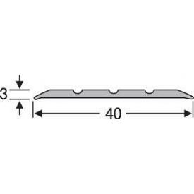 Порожек напольный алюминиевый анодированный 40 мм серебро 0,9 м