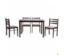 Обеденный стол и стулья АМФ Брауни комплект деревянной мебели