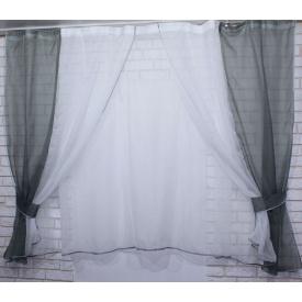 Тюль и шторки шифон VR-Textil №38 1 шт. 170 × 280 см серый с белым (2136)