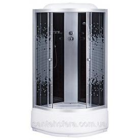 Душовий бокс Sansa 9900 A 100х100 см профіль сатин скло сіре-мозаїк заднє скло чорне