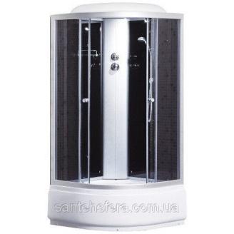 Душевой бокс Sansa 9900A 100х100 см профиль сатин стекло серое заднее стекло черное