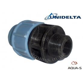 """Муфта перехідна різьбова DN 32x3/4"""" (НР) Unidelta для поліетиленового трубопроводу"""