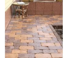 Тротуарна плитка Золотий Мандарин Роттердам Антик 250х120х65 мм на сірому цементі персиковий