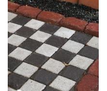 Тротуарная плитка Золотой Мандарин Квадрат малый 100х100х60 мм на сером цементе черный