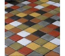 Тротуарная плитка Золотой Мандарин Квадрат малый 100х100х60 мм на сером цементе горчичный