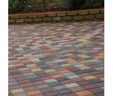Тротуарная плитка Золотой Мандарин Квадрат малый 100х100х60 мм на сером цементе красный