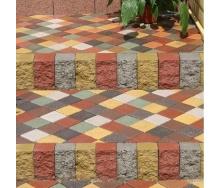 Тротуарная плитка Золотой Мандарин Квадрат малый 100х100х60 мм на сером цементе персиковый