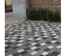 Тротуарная плитка Золотой Мандарин Старая площадь 160х40 мм на сером цементе черный