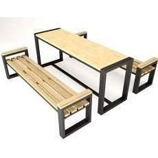 Обеденный стол с 2 лавками в стиле LOFT (Garden Table - 12)